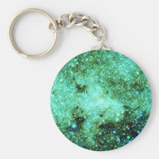 Green Milky Way Galaxy Basic Round Button Keychain