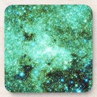 Green Milky Way Galaxy Drink Coaster