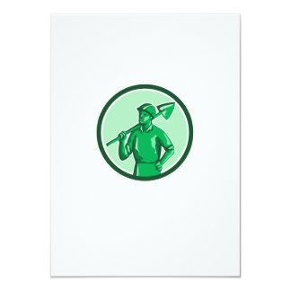Green Miner Holding Shovel Circle Retro Card
