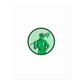 Green Miner Holding Shovel Circle Retro Postcard
