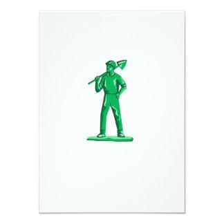 Green Miner Holding Shovel Retro Card