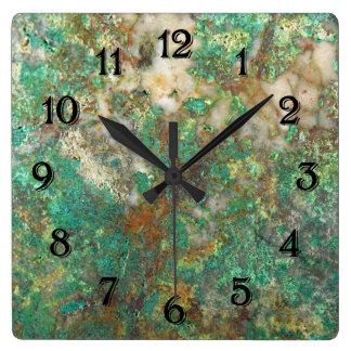 Green Mineral Stone Square Wall Clock