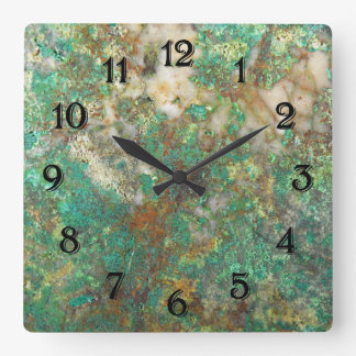 Green Mineral Stone Image Square Wall Clock