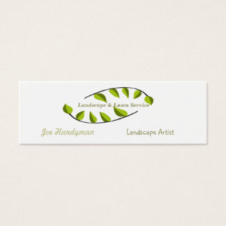 Green Minimal  Leaves Eco  Professional Consultant Mini Business Card