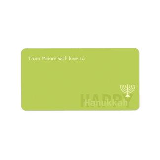 Green Minimalistic Menorah Hanukkah Address Label