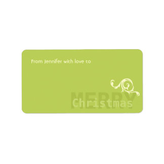 Green Minimalistic w Floral Detail Merry Christmas Address Label