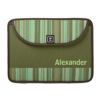 Green mint choc stripe custom Macbook Pro Sleeve