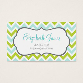 Green & Mint Colorful Chevron Stripes Business Card