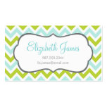 Green & Mint Colorful Chevron Stripes Business Card Templates
