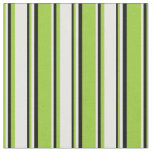 [ Thumbnail: Green, Mint Cream, and Black Colored Lines Fabric ]