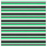 [ Thumbnail: Green, Mint Cream, and Black Stripes Fabric ]