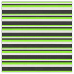 [ Thumbnail: Green, Mint Cream, and Black Stripes Pattern Fabric ]