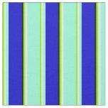 [ Thumbnail: Green, Mint Cream, Aquamarine, Blue & Black Lines Fabric ]