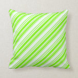 [ Thumbnail: Green & Mint Cream Colored Pattern Throw Pillow ]