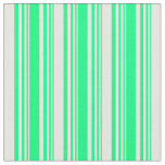 [ Thumbnail: Green & Mint Cream Colored Striped/Lined Pattern Fabric ]