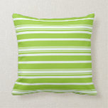 [ Thumbnail: Green & Mint Cream Colored Striped/Lined Pattern Throw Pillow ]