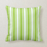 [ Thumbnail: Green & Mint Cream Colored Stripes Pattern Pillow ]