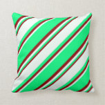 [ Thumbnail: Green, Mint Cream & Dark Red Colored Pattern Throw Pillow ]