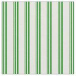 [ Thumbnail: Green & Mint Cream Stripes Pattern Fabric ]