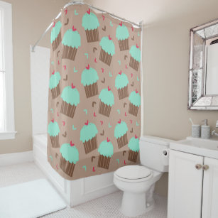 Exceptionnel Green Mint Cupcake Shower Curtain