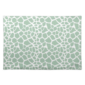 Green Mint Giraffe Print Cloth Placemat