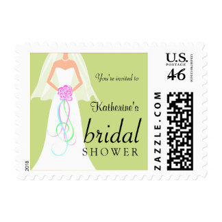 Green Mint Julep Bridal Shower Postage Stamps