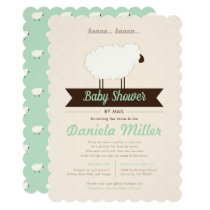 Green Mint Little Lamb Baby Shower by Mail Invitation