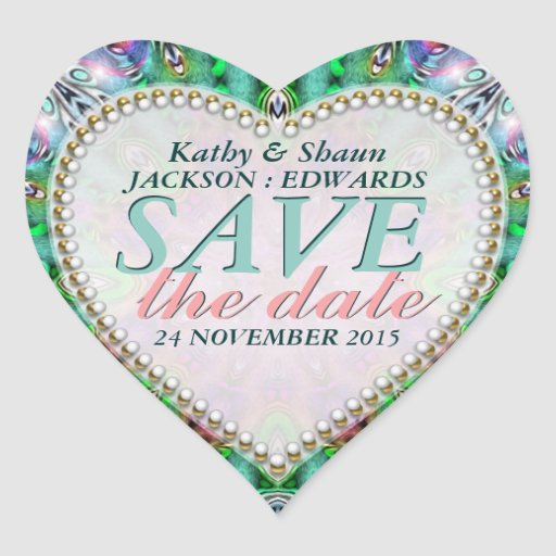 Green Mint & Pink Save the Date Heart Stickers