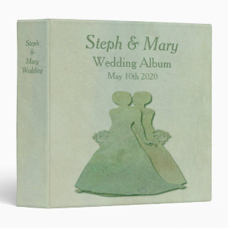 Green Mint Rustic Lesbian Wedding Album Gift 3 Ring Binder