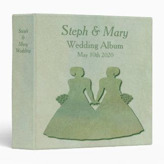 Green Mint Rustic Lesbian Wedding Album Gift Vinyl Binder