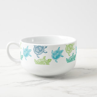 Green Mint Teal Blue Sea Turtles Soup Mug W/Handle