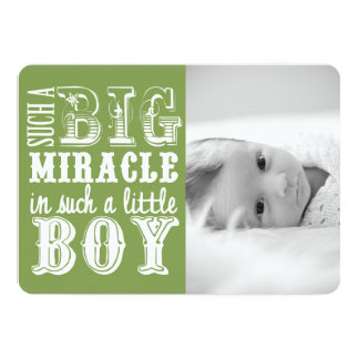 Green Miracle Boy | Photo Birth Announcement
