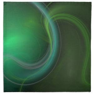 Green Mist Fractal Printed Napkins