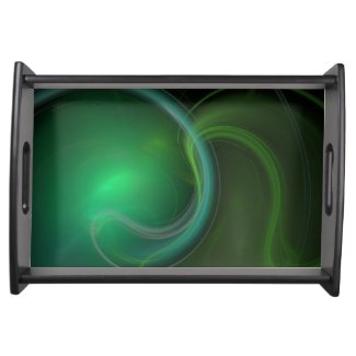 Green Mist Fractal Service Tray