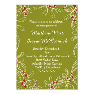 Green Mistletoe Holiday Engagement Party Card