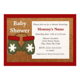 Green Mittens Burlap Baby Shower Invitation
