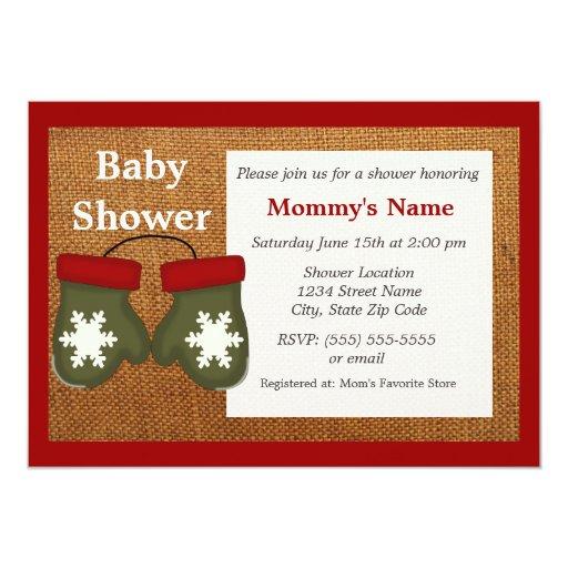 green mittens burlap baby shower invitation zazzle