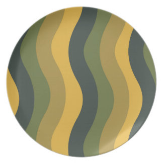 Green Mix Wavy Stripes Dinner Plate