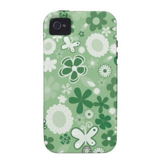 Green Mixed Flowers Vibe iPhone 4 Covers