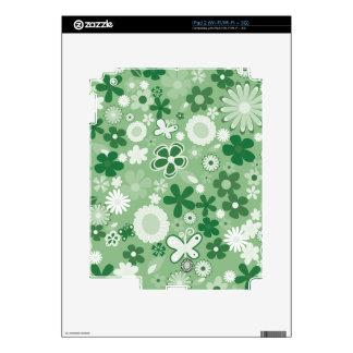 Green Mixed Flowers iPad 2 Skin