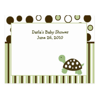 Green Mod Dot Turtle Baby Shower Advice Cards Postcard