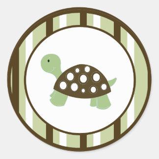 GREEN MOD DOT TURTLE Envelope Seals Classic Round Sticker