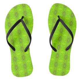 Green Mod Pattern Flip Flops