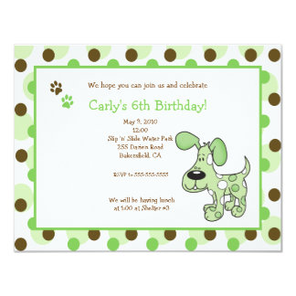 GREEN MOD PUPPY Boy or Girl Birthday Invitations