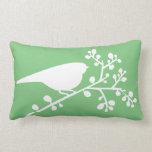 Green Mod Single Bird & Berries Throw Pillow