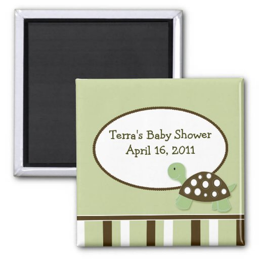 GREEN MOD TURTLE Baby Shower Favor Magnet