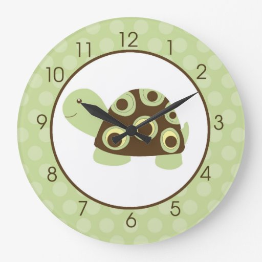 Green Mod Turtle with Brown Wall Clock