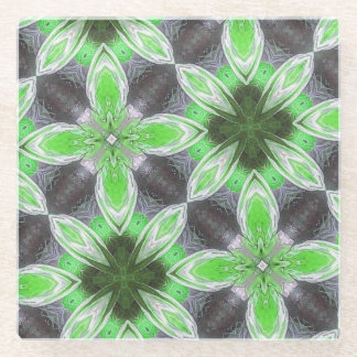 green modern abstract trendy pattern glass coaster