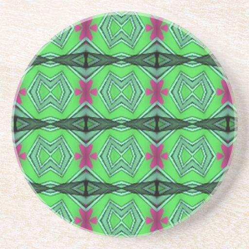 Green Modern Art Drink Coasters Zazzle