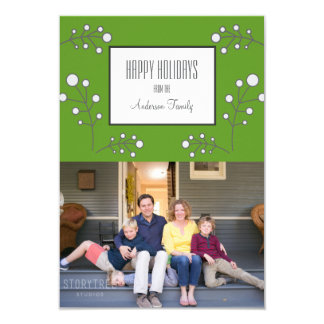 Green Modern Berry Holiday Photo Card